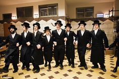 Traditional sing-a-long: Orthodox Jews sing and dance as they celebrate Purim in their community center in Bnei Brak, Israel