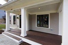 front porch House Siding, House Colors, Porches, Front Porch, Storage Ideas, Landscaping, Garage Doors, Houses, Exterior