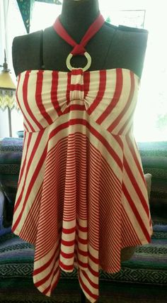 Bongo extra large red and white striped halter style top #Bongo #Halter #Casual