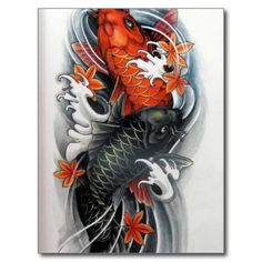 red black gold Japanese Koi Fish tattoo Postcards