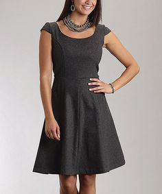 Take a look at this Charcoal Cap-Sleeve Dress - Women by Stetson on #zulily today!