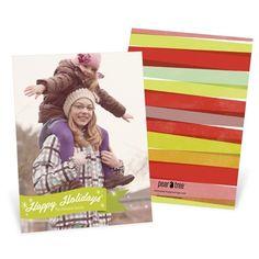 Vertical Holiday Photo Cards -- Green Ribbon