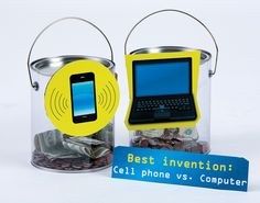 "Looking for a non-competitive way to draw attention to your All for Books campaign? Try creating ""This or That"" jars- students use their change to cast votes. Here, it's a race between the cell phone and computer for best invention! What's your vote?    Check out your Book Fair Chairperson Toolkit for more tips and tricks."