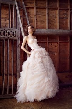 Lazaro 2015 Bridal Collection - Designer Wedding Dress - Sweetheart Neckline Ball Gown With Corseted Bodice and Ruffle Skirt. Available at Designer Bridal Room, Hong Kong.