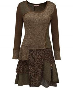 """Be ready when the cool weather comes with this sophisticated dress. Mixing beautiful knits trimmed with velvet and finished off with a floaty hem, this elegant everyday piece will see you nicely through the season. Approx Length: 91cm Our model is: 5'8"""""""