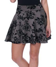 Look what I found on #zulily! Brooke & Emma Slate & Black Floral Skater Skirt by Brooke & Emma #zulilyfinds