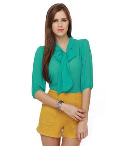 teal  bow top & mustard high-waist shorts LOVE the whole outfit!