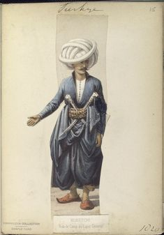Aide de Camp to the Lieutenant General. The Vinkhuijzen collection of military uniforms / Turkey, See McLean's Turkish Army of Turkish Military, Turkish Army, Military Costumes, Military Uniforms, Turkish Soldiers, Ottoman Turks, Turkish Fashion, Ottoman Empire, New York Public Library
