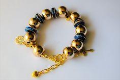 Bone Beige Royal Blue Awareness Bracelet European Gold Plated Style Bracelet Charm Bracelet Snake Chain Bracelet Murano Glass Charm Bracelet by BlingItOutLoudCharms on Etsy