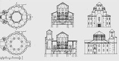 CAROLINGIAN & OTTONIAN ARCHITECTURE - Drawing of Palatine Chapel, Aachen. The Palatine Chapel consisted of a tall octagonal-sided of space, covered by dome and surrounded by annular galleries. The main entrance to the Palatine Chapel is a large structure adjoining the west side. A square mass of stone containing narthex chambers corresponding to the two levels of the chapel rises between twin cylindrical towers and is fronted by a huge entrance niche.