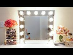 HOW TO: Build your own Hollywood Vanity Mirror W/Lights EASY AND AFFORDABLE - YouTube