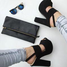 Hot Black Chunky Sling Back Platform Heels