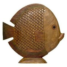 Large Wood Carved Fish