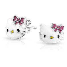 Girls Pink White Enamel Cool Kitty Cat Stud Earring 925 Silver ($21) ❤ liked on Polyvore featuring earrings and white