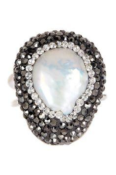 Zsa Zsa Jewels Freshwater Pearl Hematite & Swarovski Crystal The Royal Ring by Zsa Zsa Jewels