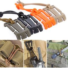 2Pcs Military Dominator Elastic Cord Hang Buckle Clip PALS MOLLE Style Webbing Tactical Survival, Survival Gear, Tactical Gear, Car Survival Kits, Survival Equipment, Accessoires Molle, Nylons, Molle Attachments, Camping Equipment
