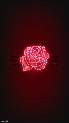 Download premium vector of Red neon rose mobile phone background vector