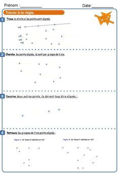 Tracer à la règle. Trace la droite si les points sont alignés. Prénom :__________ Date:__________ 1 2 Cherche les points alignés, ils sont par groupe de.