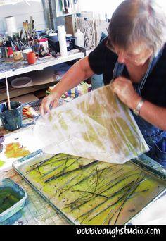 It's the Little Things – Some Studio Printing Tips — Bobbi Baugh Studio Gelli Plate Printing, Printing On Fabric, Fabric Painting, Fabric Art, Linocut Prints, Art Prints, Collagraph, Plate Art, Art Techniques