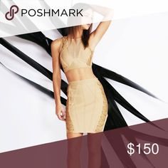 New 2pcs fringe and chain bandage set Chain and French two-piece bondage said is designed with mash blocking to reveal a hint of skin on top of the skirt. 90% polyester 10% spandex WOW couture Dresses Midi