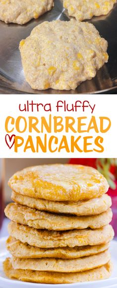 Light & fluffy cornbread pancakes that can be made sweet or savory – good for breakfast or dinner: http://chocolatecoveredkatie.com/2016/10/06/cornbread-pancakes-fluffy-oil-free-gluten-free-vegan/