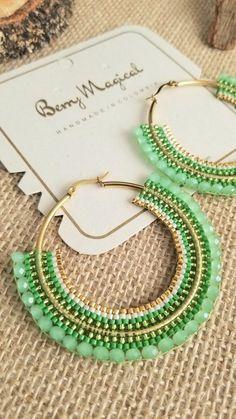 Brick Stitch Earrings, Seed Bead Earrings, Polymer Clay Earrings, Beaded Earrings, Earrings Handmade, Handmade Jewelry, Beaded Bracelets, Hoop Earrings, How To Make Earrings
