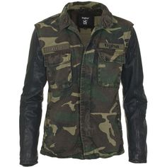 TIGHA Connor Camouflage Field jacket with leather sleeves ($260) ❤ liked on Polyvore