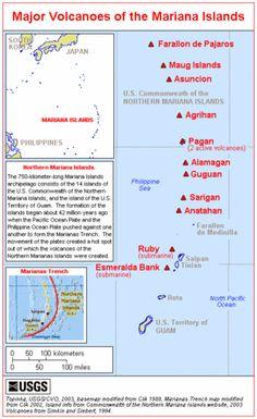 map of major volcanoes of the mariana islands