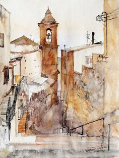 * Watercolor scenes from my trips to Europe etc.  (Minh Dam - watercolor)