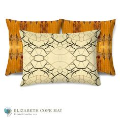 Back: High Desert Butterflies; with colors of bronze, cinnamon, copper, golden brown, golden rod, sienna, and black. Front: Haiku, in black and ivory. These pillows and more http://ElizabethCopeMay.com.