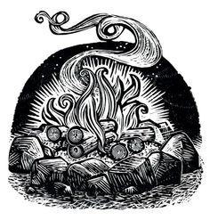 Campfire, Wood Engravings, Rick Allen of the Kenspeckle Letterpress