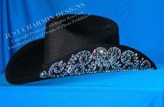 JCD- Just Charmin Designs- Crystal Bling Black Wool Western Cowgirl Cowboy Hat Horse Show Shirt Rodeo Showmanship Barrel Racing