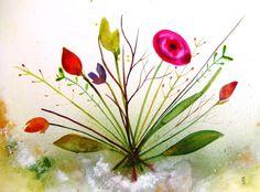 Flowers Original Watercolor Painting Ink by CelineArtGalerie, €37.00