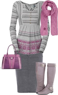 """Untitled #87"" by aaronjillthomas on Polyvore if the skirt was a little longer... love the sweater"