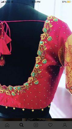 Cutwork Blouse Designs, Wedding Saree Blouse Designs, Saree Blouse Neck Designs, Simple Blouse Designs, Pink Blouse Design, Hand Work Blouse Design, Stylish Blouse Design, Embroidery Blouses, Embroidery Works