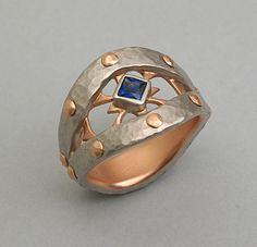 ELICHAI JEWELRY ~ Palladium Viking Ring, 14k Gold Hammerred Riveted With Sapphire