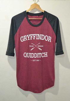 Quidditch de Gryffondor Shirt Harry Potter chemises manches 3/4 Raglan taille S M L