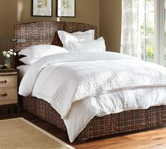 Seagrass Bed & Headboard | Pottery Barn **1** room color, bedding, wall, floor, rug**