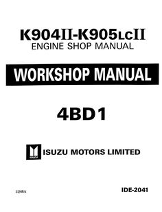 Isuzu 6BB1, 6BD1, 6BG1, 6BD1T, 6BG1T Engine Workshop