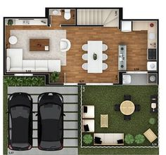 House Projects Architecture Floor Plans Quartos 44 New Ideas Duplex House Plans, Dream House Plans, Modern House Plans, Small House Plans, House Floor Plans, Apartment Layout, Apartment Plans, Mexico House, House Front Design