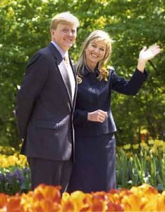 First official appearance after engagement for Crown Prince Willem-Alexander of The Netherlands and Máxima Zorreguieta.
