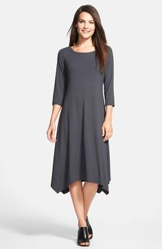 Eileen Fisher Ballet Neck Handkerchief Hem Jersey Dress available at #Nordstrom