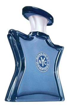 """Bond No. 9 New York 'Hamptons'  - lime blossom, bergamot, white jasmine, magnolia, amber, sandalwood. """"Your own private Jitney transport to New York's outermost neighborhood, where country lanes dotted with World of Interiors houses and McMansions meet salt-sea mist. A male-female weekend scent, combining lush florals with a woody musk that lingers like a creamy ocean mist."""""""