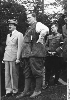 Adolf Hitler, Hermann Goering (in hunter clothing with a dagger) and Baldur von Schirach on the Obersalzberg 1936.