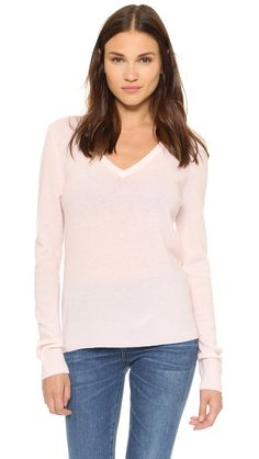 Equipment Cecile V Neck Sweater - Chalk Pink