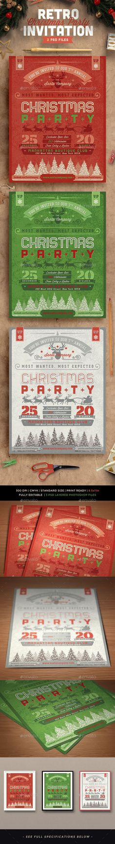 Retro Christmas Party Invitation Template PSD #design Download: http://graphicriver.net/item/retro-christmas-party-invitation/13216367?ref=ksioks