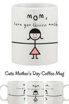 """Cute Mug..love the arms wrapped around the whole mug, just like a big hug..How much do you love your mom? How many times you say """"I love you"""" to her? Order today and express your feeling like a kid this time. She'll be the happiest mother in the world. #ad #mothersday #coffeemug"""