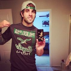 Dustin Davidson of August Burns Red rocking The Philadelphia Eagles and his Carved Ebony world map inlay case August Burns Red, Philadelphia Eagles, Ipad Mini, Ipod, Christmas Sweaters, Bands, Samsung Galaxy, Carving, Map