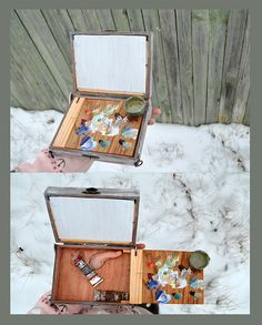 This handy little box for oil painting. painting Set in Wooden Box for artists hand. this little box you can wear on the thumb of your hand. You can