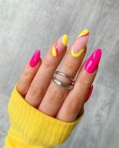 Pink Summer Nails, Bright Pink Nails, Yellow Nails Design, Yellow Nail Art, Hot Pink Nails, Neon Yellow Nails, Spring Nails, Bright Nails For Summer, Colourful Nails